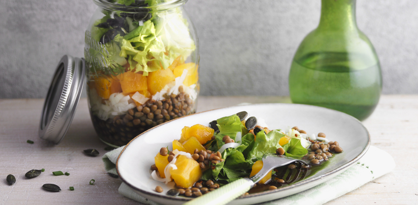Salad in jar with pumpkin and lentils